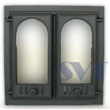 Каминная дверца 2-х створчатая застекленная SVT 400