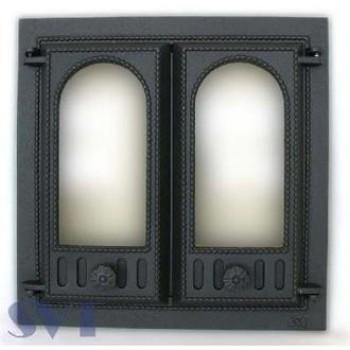 Каминная дверца 2-х створчатая застекленная SVT 401